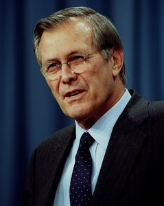 Photo of Donald H. Rumsfeld. Link to news photo page.